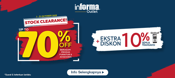 Stock Clearance dan Extra Discount Outlet