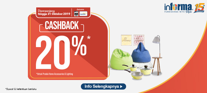 Cashback 20% Accessories & Lighting