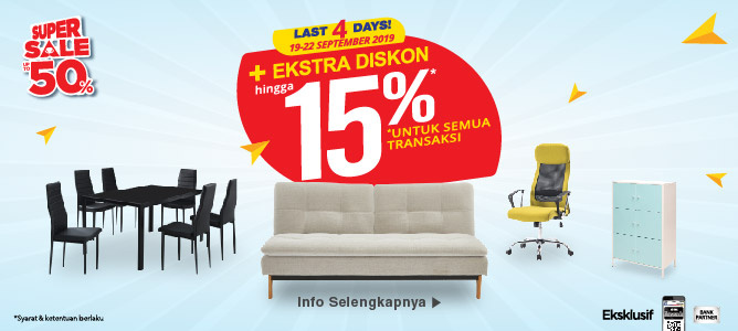 All Day Sale Extra Diskon 15% hingga 22 September 2019